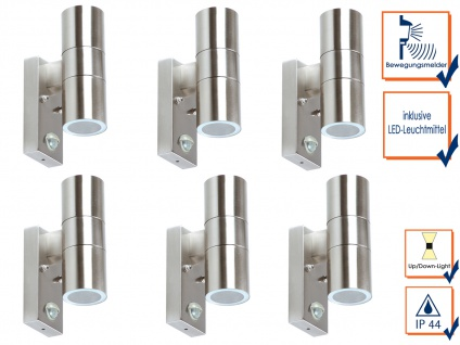 6er SET Außenwandleuchte mit Bewegungsmelder up/down-Light + LED-Leuchtmittel