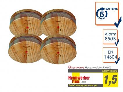 4er SET Brand-Melder Holzoptik 5 Jahres Batterie, EN14604 geprüft, Feuer Alarm