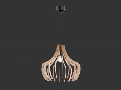 LED Naturholz Hängeleuchte LED 1 flammig Schirm holzfarbig rund Ø 44cm Höhe 40cm