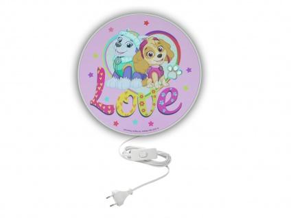 LED Kinderzimmer Wandlampe mit Schalter Ø 25cm Rosa PAW PATROL die super Hunde