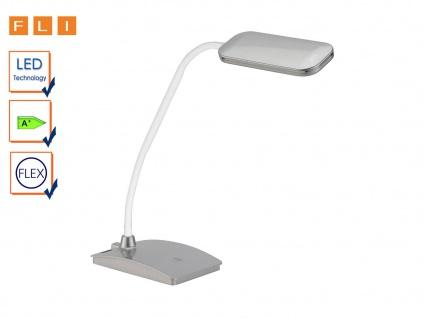 LED Schreibtischlampe silber mit Flexarm Touch An/Aus, Büroleuchte FLI-Leuchten