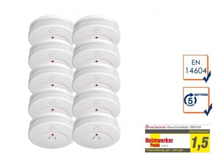 10er-SET Rauchmelder TÜV Zertifiziert & 5 Jahres Batterie, Feuer Brand Melder - Vorschau 1