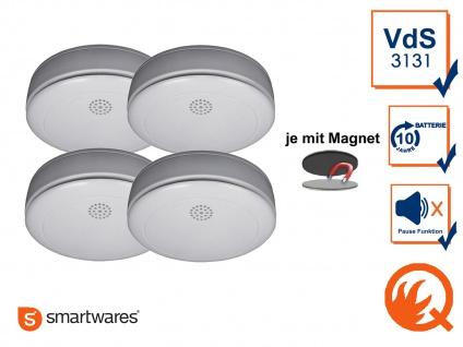 4er SET Rauchmelder 10 Jahres Batterie, VdS & Q-Siegel mit EASY Magnethalterung