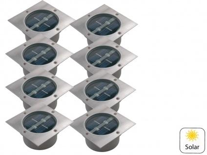 8er Set Solar Einbaustrahler Außen mit Tag / Nacht Sensor Bodeneinbauleuchten