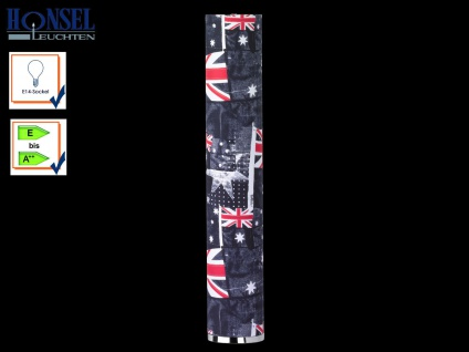 Honsel Stehleuchte BANNER Union Jack / England Flagge, E14 Stehlampe modern