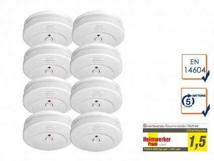 8er-SET Rauchmelder TÜV Zertifiziert & 5 Jahres Batterie, Feuer Brand Melder