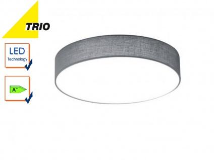 Trio LED Deckenleuchte LUGANO 30cm Stoffschirm grau, Wohnzimmerlampe Flurlampe
