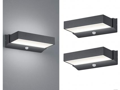 LED Außenwandlampe mit Bewegungsmelder Anthrazit - 2er Set Terrassenbeleuchtung