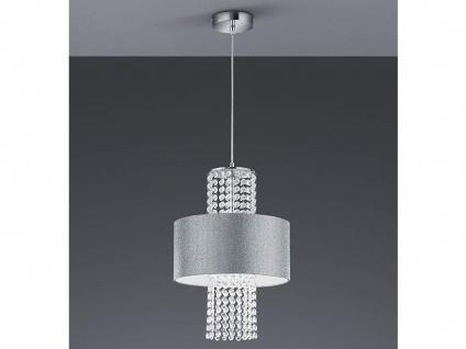 LED Pendelleuchte mit Textilschirm rund Ø30cm Silber glitzernd, Acryl Kristallen