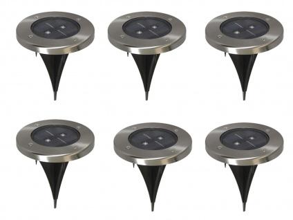 6er-Set LED Solarstrahler, Edelstahl Dämmerungssensor Erdspieß IP44