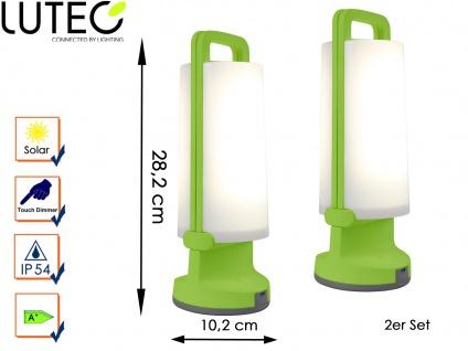 2 Universal LED Solarleuchten mit USB Ladefunktion dimmbar IP54 H. 28, 2cm Grün