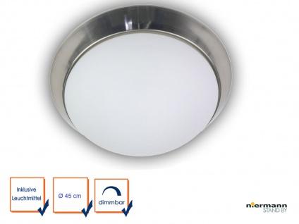 LED Deckenleuchte rund Opalglas matt Dekorring Nickel matt Ø45cm LED Büroleuchte