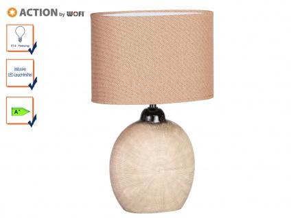 Tischleuchte LEGEND mit LED, H. 37cm, braun, Keramik & Stoff, Tischlampen Lampen