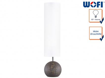 Retro Stehleuchte Antik braun Schirm weiß H. 124cm mit LED, Lampe Wohnraum Deko