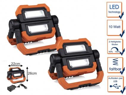 2 Stk. LED Baustrahler mit Akku, USB Ladekabel, Magnet & Haken - Werkstattlampen