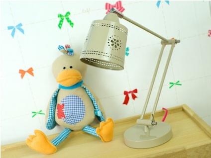 LIEF! Schwenkbare Schreibtischlampe, Landhaus Stil, Metallschirm beige