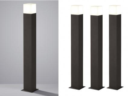 LED Pollerleuchte in Anthrazit 80cm - 3er Set Wegeleuchten Terrassenbeleuchtung