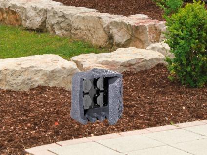 Außensteckdose Steinoptik 4 fach Gartensteckdosen Terrassensteckdose für draußen - Vorschau 5