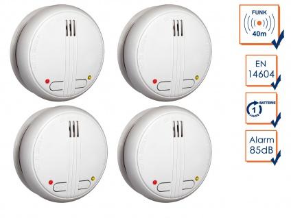 4er-Set Funkrauchmelder 40m Reichweite bis 20 Melder vernetzbar, Feuermelder