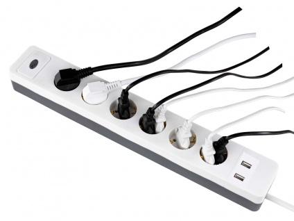 Steckdosenerweiterung 6 fach Leiste, Mehrfachsteckdose mit 2 USB Anschlüssen