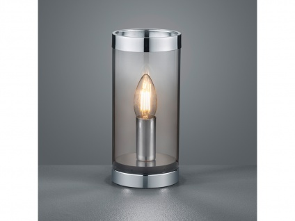 Kleine ausgefallene Tischleuchte Zylinder Tischlampe Nachttischlampe Rauchglas - Vorschau 5