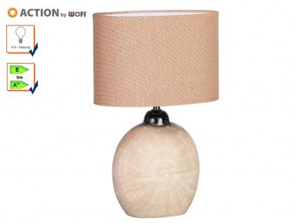 Tischleuchte LEGEND, H. 37cm, braun, Keramik & Stoff, E14, Tischlampen Leuchten