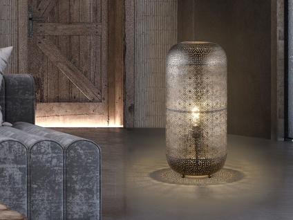 Große LED Designer Tischlampe / Hockerleuchte mit Lampenschirm orientalisch