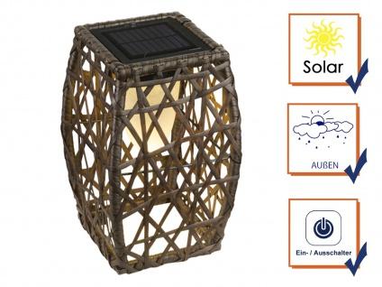 Rattan LED Solarleuchte - Stehlampe für den Garten & draußen mit Geflecht-Design - Vorschau 3