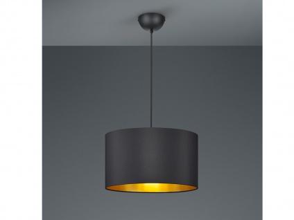 LED Pendelleuchte DIMMBAR mit Stoff Lampenschirm Ø40cm in schwarz/gold Flurlampe