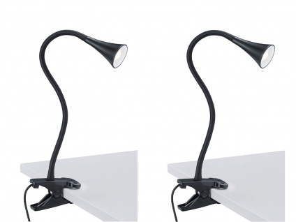 2er SET LED Klemmleuchte flexibel Schwanenhalslampe in schwarz Schreibtischlampe
