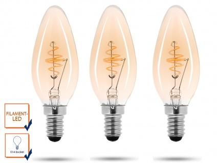 3x LED Leuchtmittel 3 Watt, 150 Lumen, 2000 Kelvin, E14-Sockel, Filament LED