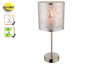 Design Tischlampe AMY I Stoffschirm silber 15cm, Wohnzimmerlampe Tischleuchte