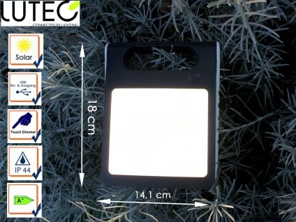 Universal LED Solarleuchte mit USB Ein- & Ausgang dimmbar IP44 H. 18cm Weiß