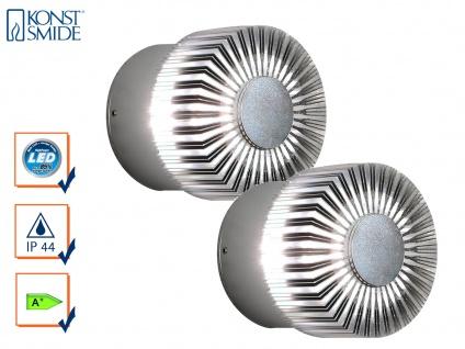 2er-Set runde Wandleuchten MONZA effektvolle Beleuchtung massives Alu