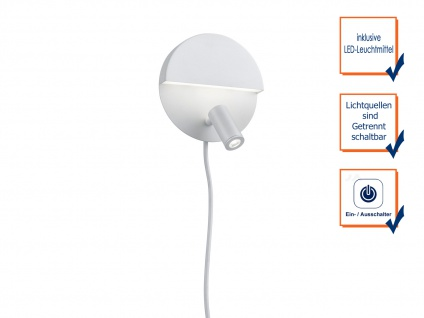 LED runde Wandlampe mit mehreren Lichtquellen, getrennt schaltbar, weiß matt - Vorschau 3