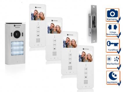 Set: 4 Familienhaus Videotürsprechanlage mit Türöffner und Kamera, Klingelanlage