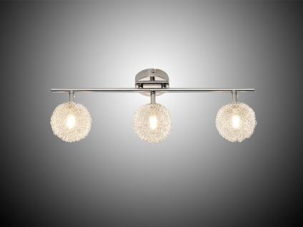 LED Deckenleuchte Strahler 3 flammig Alu Drahtgeflecht Silber Chrom Breite 52cm