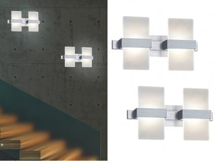 2x stylishe LED Wandleuchten mit Schalter - edler Materialmix aus Alu gebürstet