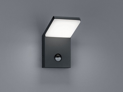 Coole LED Außenwandlampe in anthrazit aus ALU mit Lichtsensor, IP54 Höhe 16cm