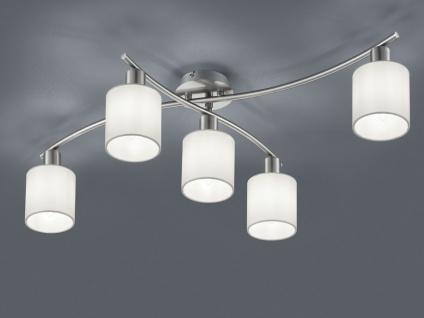 5 flammige Deckenleuchte GARDA schwenkbar mit weißen Stoffschirmen, Deckenlampe