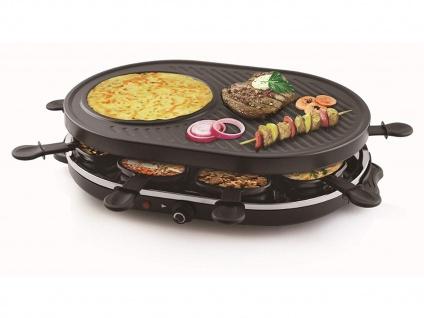 TRISTAR Raclette Gerät für 8 Personen mit Crêpefläche Elektro Tischgrill Raklett