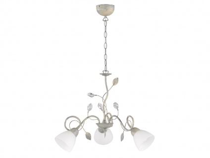 Grauer Blätterdesign Lüster im Antik Look Florentiner Stil mit 3 dimmbaren LEDs