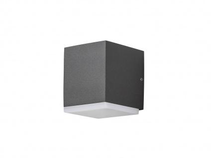 2er Set LED Außenwandleuchte Alu Anthrazit, 6W IP54 Fassadenbeleuchtung Garten - Vorschau 3