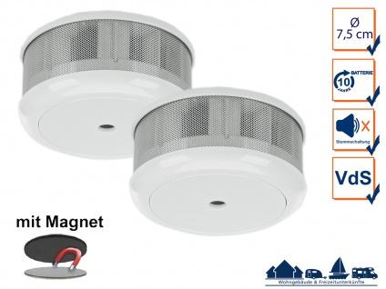 2er-Set Mini 10-Jahres Rauchwarnmelder + Magnet-Set mit VDS & DIN EN14604