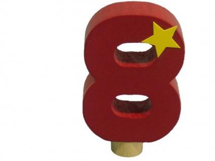 Geburtstagszahl 8 für Niermann Kerzenhalter, Holz, Happy Zahl Geburtstag Kinder