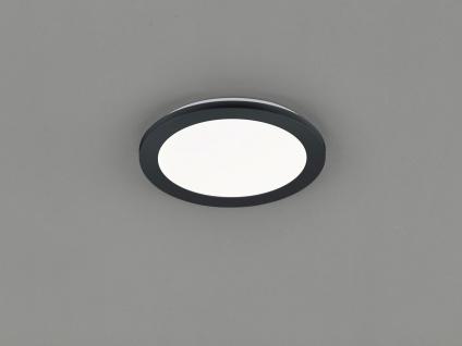 Kleine LED Deckenleuchte CAMILLUS flache Badezimmerlampe rund Ø26cm schwarz IP44