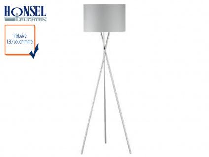 Design Stehlampe mit LED, Lampenschirm 54cm Stoff grau Stehleuchte Standlampe