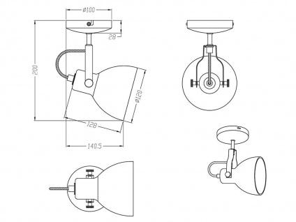 1 fl. LED Wandstrahler dreh-und schwenkbar in Nickel matt mit Glasschirm in weiß - Vorschau 5