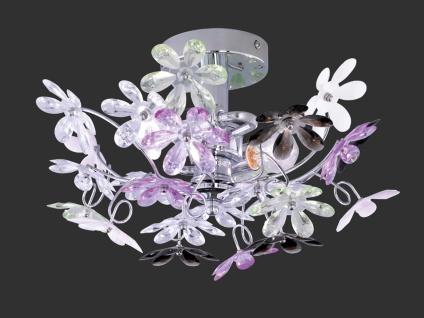 Florale Deckenlampe Chrom Acrylglas Ø38cm mit bunten Blüten, Wohnzimmerlampe