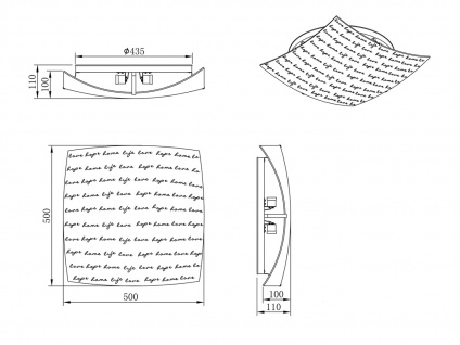 Deckenleuchte dimmbar 50x50cm Glas Lampenschirm in weiß mit modischem Dekor E27 - Vorschau 4